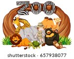 zookeeper and wild animals at... | Shutterstock .eps vector #657938077