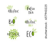 vector eco  bio green logo or... | Shutterstock .eps vector #657943225