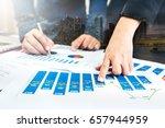 double exposure of business man ... | Shutterstock . vector #657944959