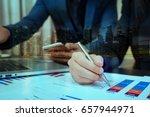 double exposure of business man ... | Shutterstock . vector #657944971