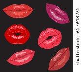 set beauty fashion women's lips ...   Shutterstock .eps vector #657948265