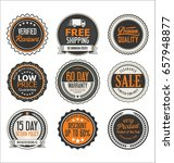 retro vintage quality badges... | Shutterstock .eps vector #657948877