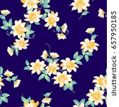japanese style clematis pattern  | Shutterstock .eps vector #657950185