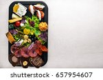 set snacks with meat and... | Shutterstock . vector #657954607