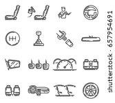 set of car interior details... | Shutterstock .eps vector #657954691