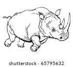 rhino   retro clipart... | Shutterstock .eps vector #65795632