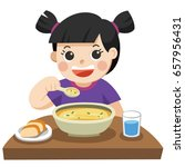 a little girl happy to eat... | Shutterstock .eps vector #657956431
