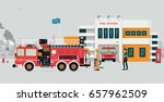 fire station with fireman and... | Shutterstock .eps vector #657962509