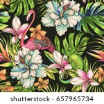 animals and tropical flowers.... | Shutterstock . vector #657965734