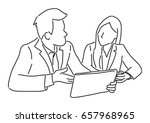 two businessmen are sitting and ... | Shutterstock .eps vector #657968965