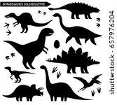 dinosaurs silhouette set. types ... | Shutterstock .eps vector #657976204