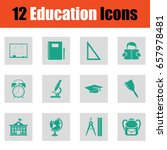 education icon set. green on...