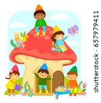 little dwarfs playing and... | Shutterstock .eps vector #657979411