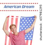 Small photo of Text AMERICAN DREAM and young man with USA flag on white background
