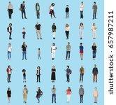 diversity people set gesture... | Shutterstock . vector #657987211