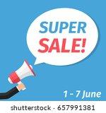 super sale announcement  hand... | Shutterstock .eps vector #657991381
