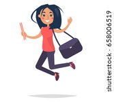 young bouncing girl student... | Shutterstock .eps vector #658006519