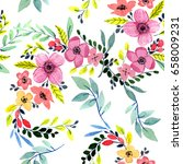 wildflower  flower pattern in a ... | Shutterstock . vector #658009231