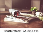 selective focus of the stacking ...   Shutterstock . vector #658011541