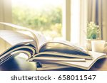 selective focus of the stacking ... | Shutterstock . vector #658011547