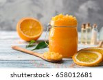 glass jar with scrub  spoon and ...   Shutterstock . vector #658012681