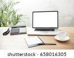 a notebook computer with clip... | Shutterstock . vector #658016305