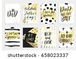 8 happy father's day postcards...   Shutterstock .eps vector #658023337