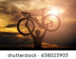 silhouette of cycling woman... | Shutterstock . vector #658025905
