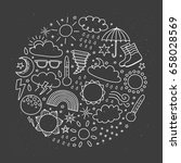 doodle outline weather icons... | Shutterstock .eps vector #658028569