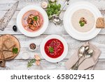 set of three bowls with... | Shutterstock . vector #658029415