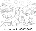 pasture sheep with a shepherd... | Shutterstock . vector #658033405