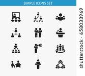 set of 12 editable cooperation... | Shutterstock .eps vector #658033969