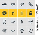 vector illustration of 16 food... | Shutterstock .eps vector #658034425