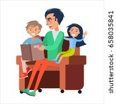 father reads book to his son... | Shutterstock .eps vector #658035841