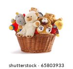 Stuffed Animal Toys In A Basket ...