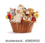 Stuffed Animal Toys In A Baske...