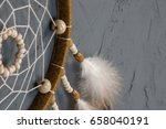 olive beige dream catcher close ... | Shutterstock . vector #658040191