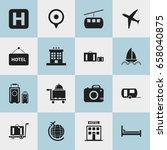 set of 16 editable holiday... | Shutterstock .eps vector #658040875