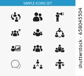 set of 12 editable team icons.... | Shutterstock .eps vector #658045504