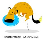 cute dog jumping with disk. dog ... | Shutterstock .eps vector #658047361
