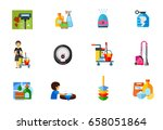cleaning service icon set | Shutterstock .eps vector #658051864