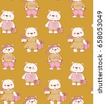 seamless pattern with funny... | Shutterstock .eps vector #658053049