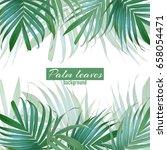 vector palm leaves background.... | Shutterstock .eps vector #658054471