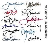 set of imaginary signature.... | Shutterstock .eps vector #65805616