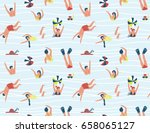 Summer Seamless Pattern. People ...