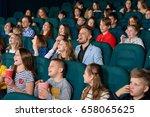 happy little kids laughing... | Shutterstock . vector #658065625
