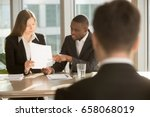 multiracial employers or... | Shutterstock . vector #658068019