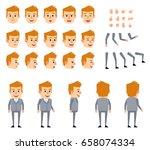 blonde businessman in grey suit ... | Shutterstock .eps vector #658074334