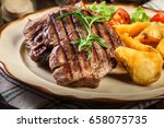 succulent portions of grilled... | Shutterstock . vector #658075735