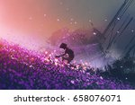 the robot sitting on purple... | Shutterstock . vector #658076071